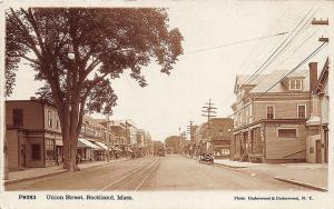 Rockland MA Union Street Storefronts Trolley Old Cars Underwood RPPC Postcard