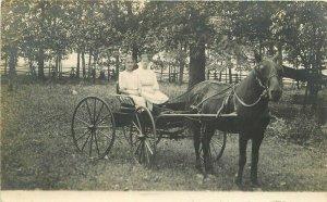 C-1910 Horse buggy young women RPPC Photo Postcard 20-13522