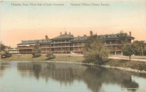 Leavenworth KS~Civil War Soldiers Home~Hospital~Lake Jeannette~1920s Handcolored