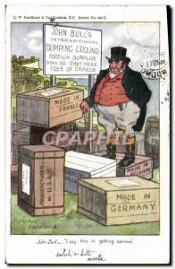 Old Postcard John Bull Dumping Ground Made in Germany