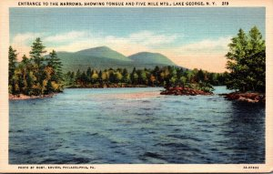 New York Lake George Entrance To The Narrows Showing Tongue and Five Mile Mou...