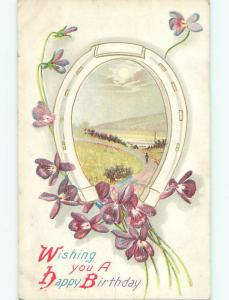 Pre-Linen LUCKY HORSESHOE WITH PURPLE FLOWERS FOR BIRTHDAY k4506