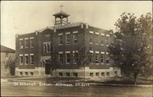 Atkinson IL St. Anthony's School c1910 Real Photo Postcard