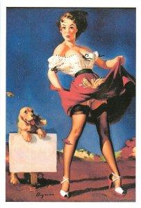 Repro postcard pinup pin up beauty upskirt & dog