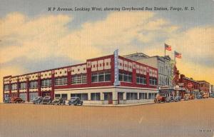 Fargo North Dakota Greyhound Bus Station Linen Antique Postcard K29742