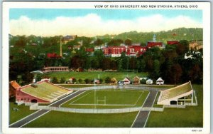 Athens, Ohio Postcard View of OHIO UNIVERSITY and New Stadium Curteich Linen
