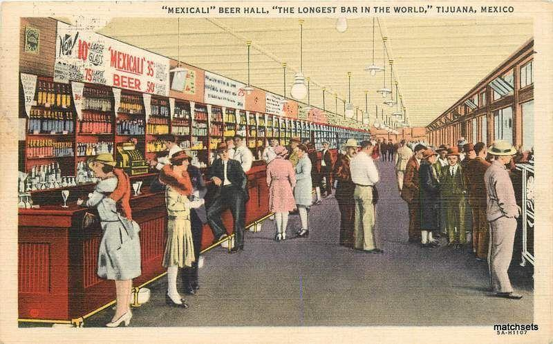 Interior Mexicali Beer Hall Longest bar in World TIJUANA MEXICO 3149 POSTCARD
