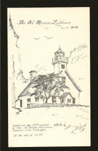 #1 The Old Mission Lighthouse Traverse City Michigan John A Nelson Art Postcard