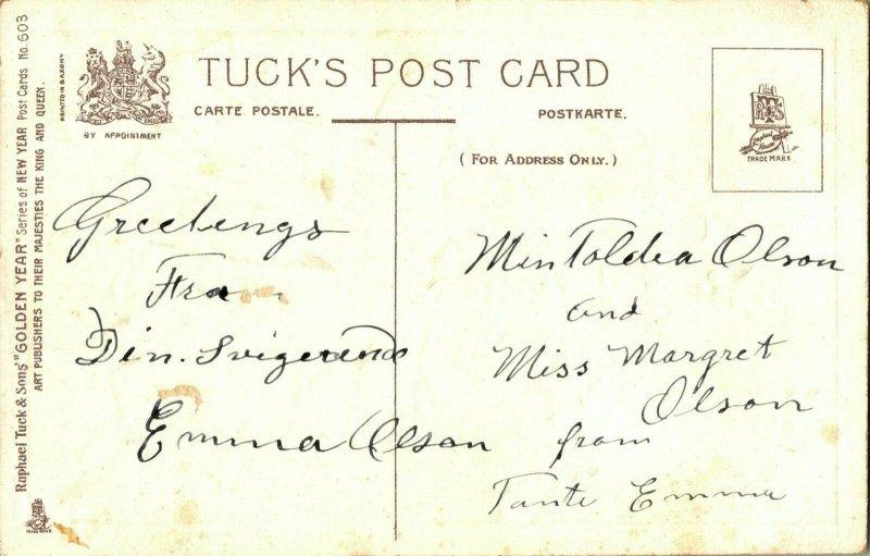 Vtg Postale Tuck's Doré An Séries Sans 609 Fille Avec Fleurs & Horloge - en