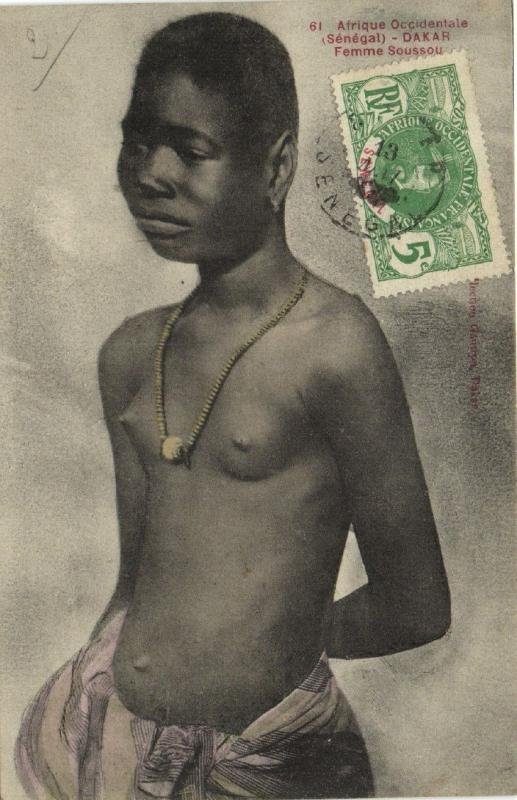 CPA Senegal Ethnic Nude Fortier - 61. Dakar - Femme Soussou (71116)
