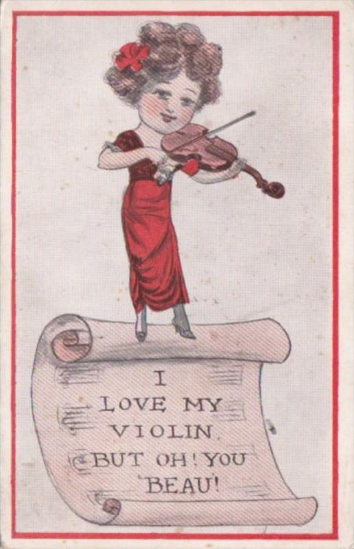 Humour Young Girl Playing Violin 1919