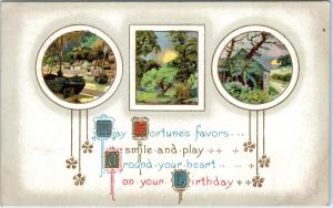 ARTS & CRAFTS Style BIRTHDAY  GREETING 1912  Fortunes's Favors   Postcard