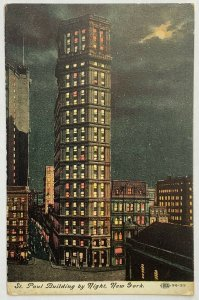 Old Divided Back Postcard 1910s St. Paul Building By Night, New York Unposted