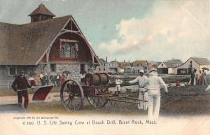 Brant Rock Massachusetts Life Saving Crew Beach Drill Antique Postcard K83904