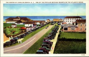 North Carolina Beach NC Center Atlantic Ocean Postcard Old Vintage Card View PC