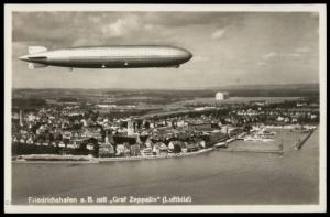 Germany 1934 Graf Zeppelin Airship Over Friedrichshafen RPPC 4pf Stamp 78599