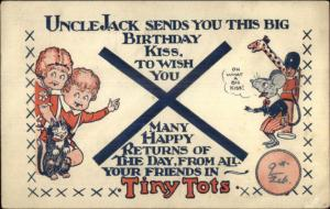Uncle Jack Birthday Postcard - Tiny Tots - Images on Both Sides gfz