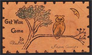 Butler NJ Leather Postcard Owl and Moon Get Wise Come to Butler UDB Mailed 1906