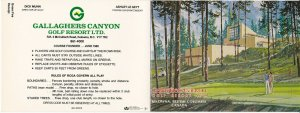 KELOWNA , B.C. , 1980s ; Gallaghers Canyon Golf Course Score Card