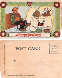 Approx Size Inches = 3.50 x 5.50 Cork Screw, a Happy New Year Trade Card
