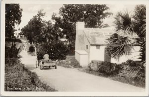 Bermuda Road Scene in Smith's Parish Rutherford & Gotham RPPC Postcard F92