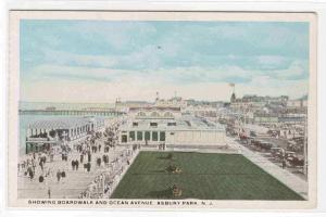 Boardwalk & Ocean Avenue Asbury Park New Jersey 1920c postcard