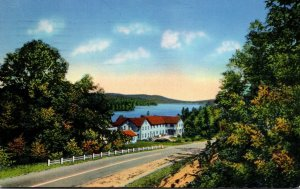 New York Long Lake Looking North With Long View Lodge 1959