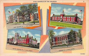 High Schools of the Oranges, New Jersey,  Early Postcard, Unused
