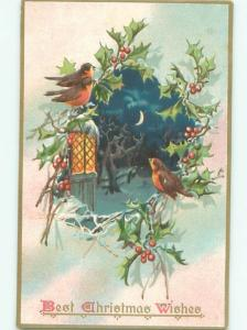 Pre-Linen Christmas CUTE BIRDS WITH HOLLY AND NIGHT SCENE AB5070