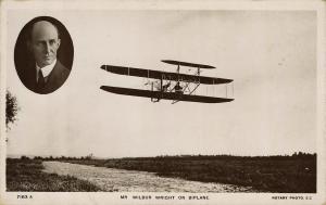 1907 Pioneer Aviation RPPC: Wilbur Wright Flies Biplane in England – Rare
