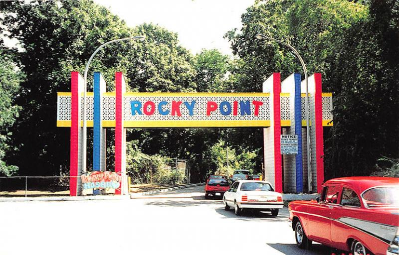 Rocky Point RI Amusement Park Entrance Old Cars Discount Coupons Postcard