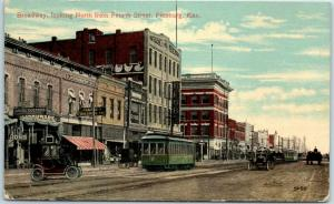 Pittsburg, Kansas Postcard Broadway, North from 4th Street Downtown - 1915