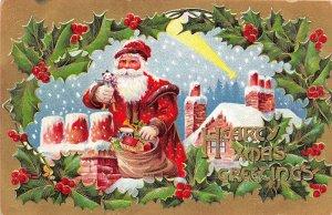 F99/ Santa Claus Christmas Postcard c1910 Chimney Snow Doll 7