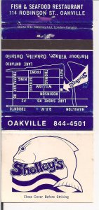 Matchbook Cover ! Shelley's Seafood, Oakvlle, Ontario !