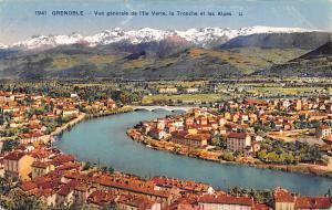 France Grenoble Vue generale de l'Ile Verte la Tronche et les Alpes Pont