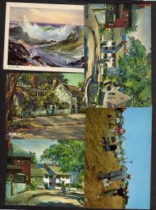 ME Lot 5 Roger Deering Kennebunkport Maine Postcards Artisit Paintings