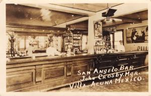 Ciudad Acuña MX San Angelo Bar~Whiskey? Poster~John Crosby~RPPC 1927