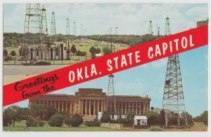 OK Oklahoma City State Capitol Oil Wells Lincoln BLVD 1950s Postcard