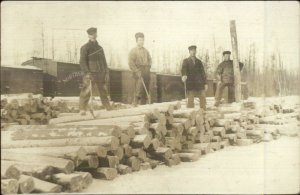 Logging Lumberjacks Work Labor Northern Pacific RR Train Cars RPPC c1910
