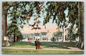 Bingham Maine~Victorian Couple on Meddow Street Sidewalk~Homes~Church~1912