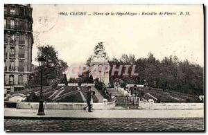 Old Postcard Clichy Square Flower Parade Republic