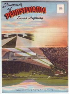 P189 JLs 1030-45 postcard 18 view penn super hwy foldout