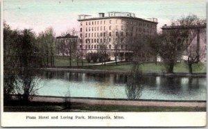 MINNEAPOLIS, Minnesota Postcard PLAZA HOTEL and Loring Park c1910s Unused