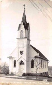 RPPC Catholic Church SPRING VALLEY MN Vintage Minnesota Postcard ca 1940s