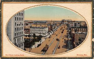 Canada Main Street looking North Winnipeg Man Street Tram Postcard