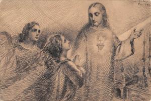 B99151 de twaalf beloften van het h hart Jesus painting religious postcard