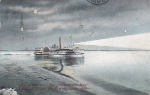 BALTIMORE, Maryland; 1909 ; Steamer Louise, Moonlight on The Chesapeake Bay