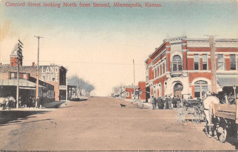 Minneapolis KS Handcolored~Land Office~Corner Bank~Jackman Abstract~Behind c1910