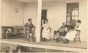 C-1910 People Porch Rocking Chair Dog RPPC Photo Postcard 13462