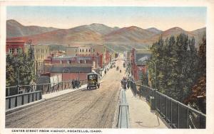 F7/ Pocatello Idaho Postcard 1920 Center Street Bus Stores People
